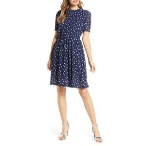 1901 Polka Dot Chiffon Fit & Flare Dress sz MP NWT